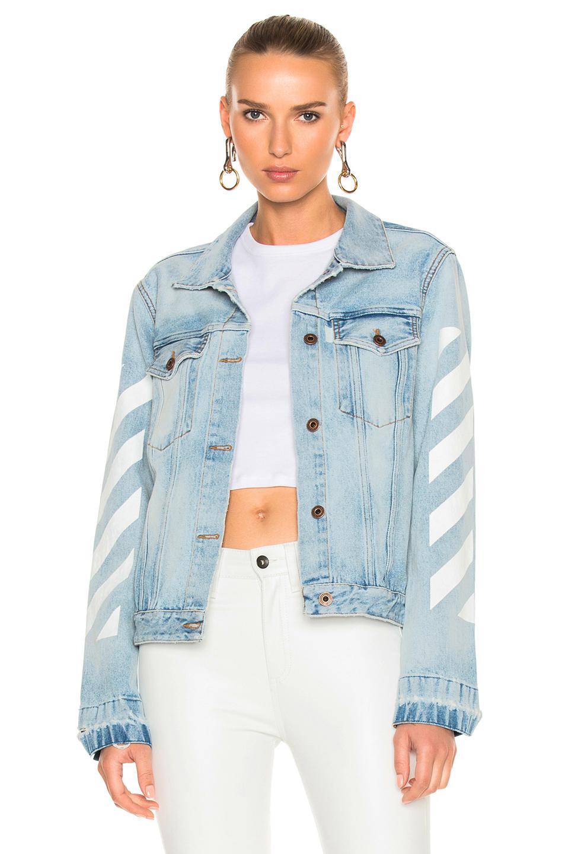 OFF-WHITE Diagonal Sleeve Denim Jacket in Blue