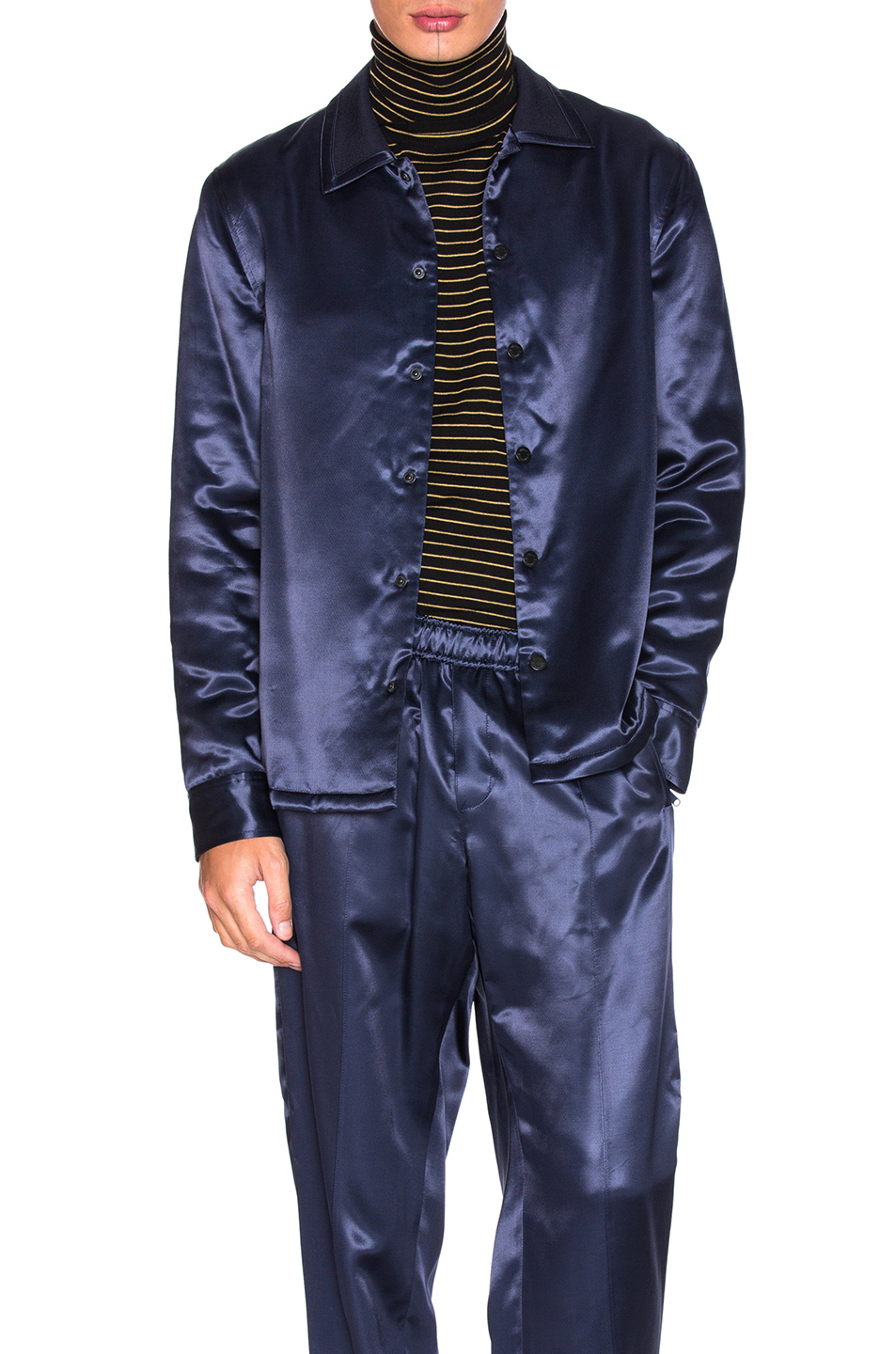 Opening Ceremony Silky Flannel Shirt Jacket in Blue