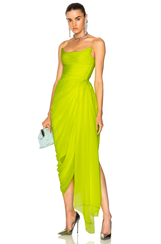 Oscar de la Renta Draped Strapless Gown in Yellow