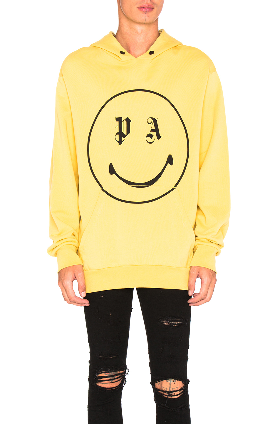 Palm Angels PA Smiling Hoody in Yellow