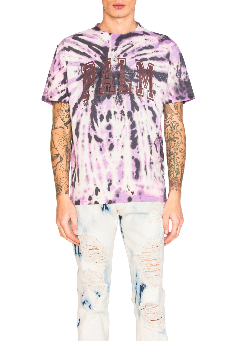 Palm Angels College Tie & Dye Tee in Purple,Ombre & Tie Dye