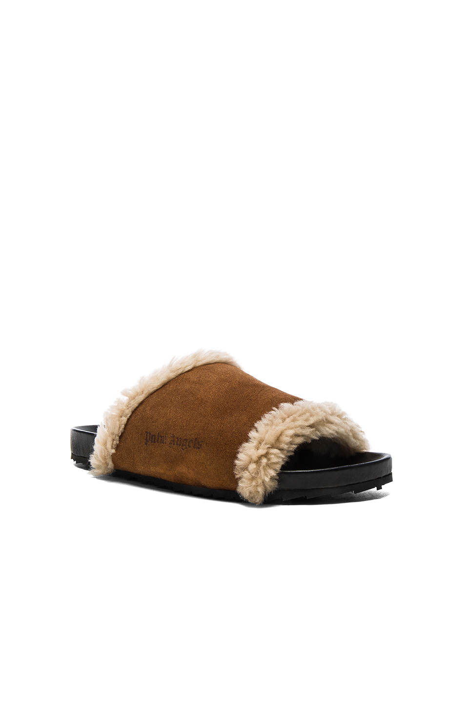 Palm Angels Lamb Shearling Slides in Brown