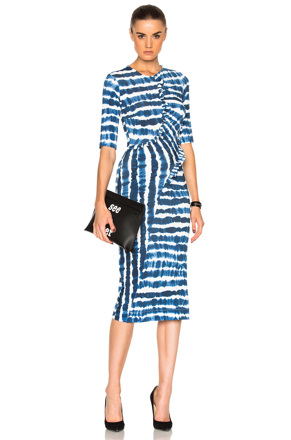 Preen by Thornton Bregazzi Marlena Dress in Blue,Ombre & Tie Dye,White