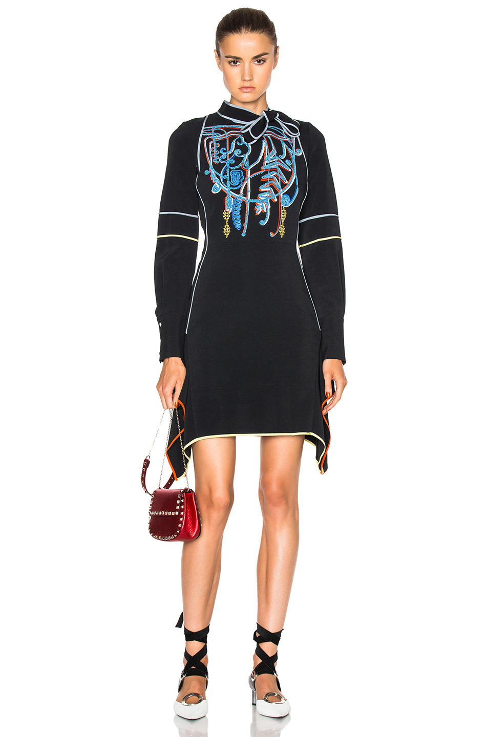 Peter Pilotto Cady Embroidered Mini Tie Dress in Black