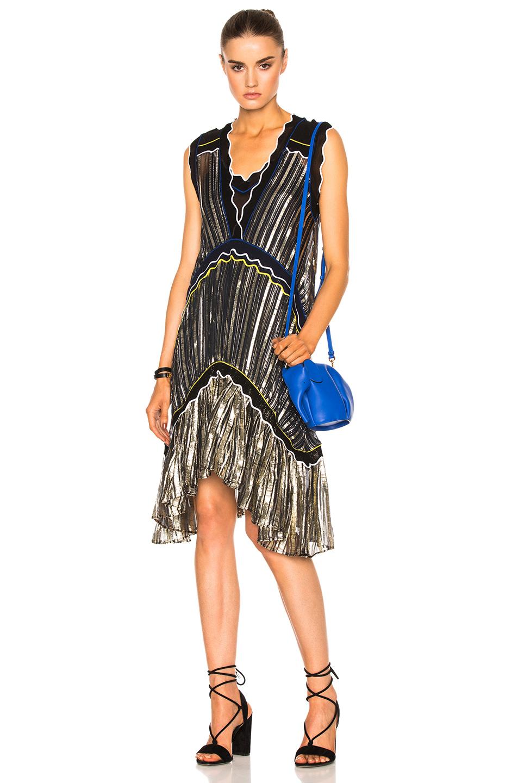 Peter Pilotto Metallic Chiffon Dress in Black,Metallics