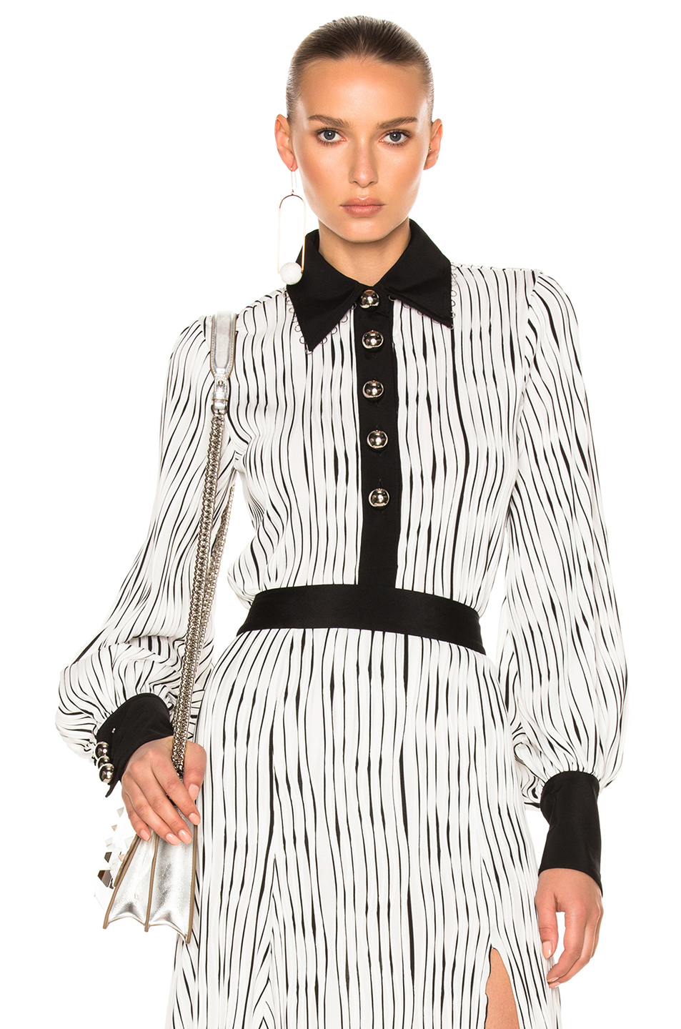 Prabal Gurung Wavy Rib Jersey Polo Blouse in Black,Stripes,White