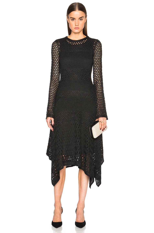 Proenza Schouler Open Stitch Handkerchief Hem Dress in Black