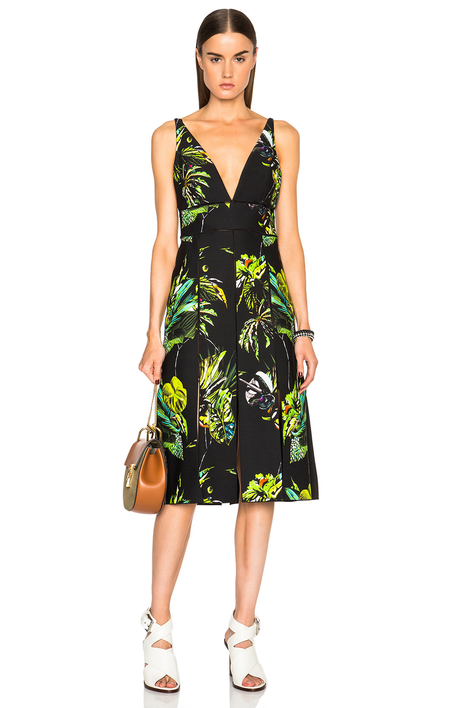 Proenza Schouler Printed Satin V Neck Long Dress with Slits in Black,Floral,Green
