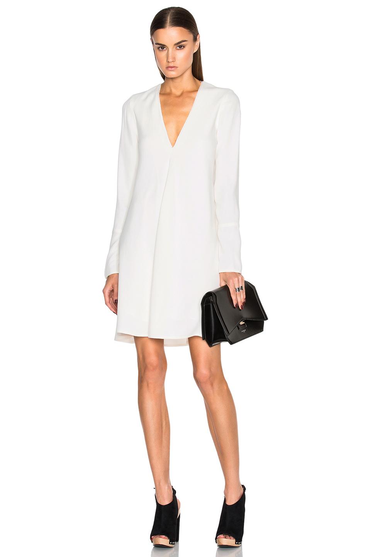 Proenza Schouler Satin Back Crepe V Neck Dress in White