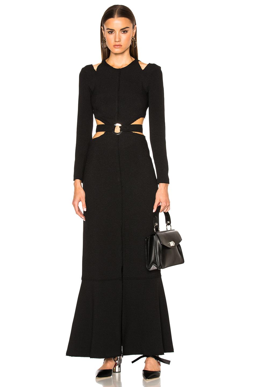 Proenza Schouler Lightweight Viscose Crepe Cut Out Gown in Black