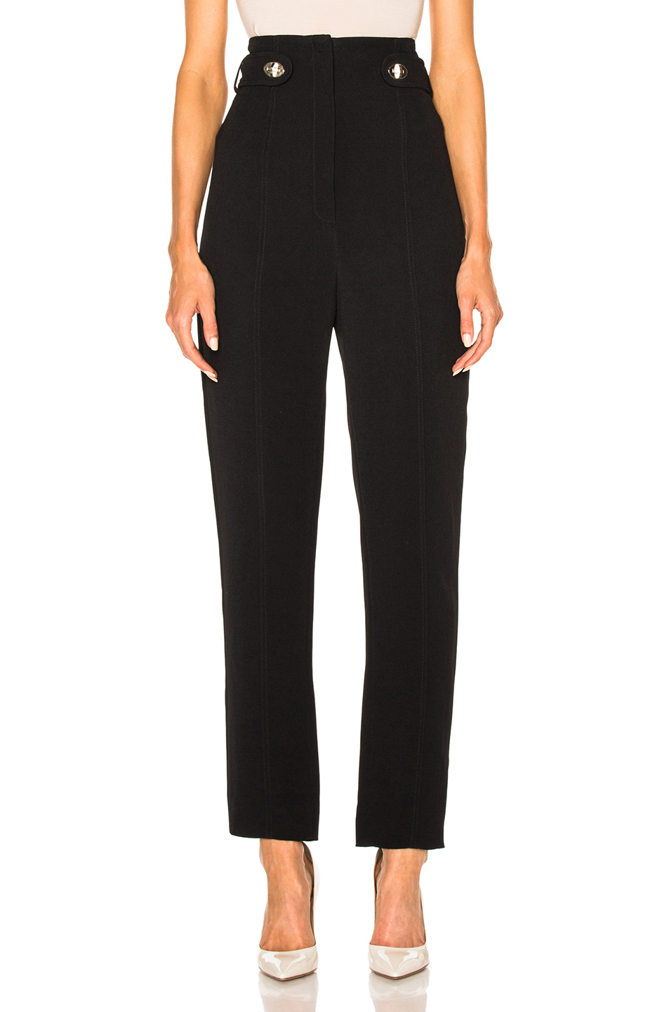 Proenza Schouler Fluid Viscose Cady Pencil Leg Pants in Black
