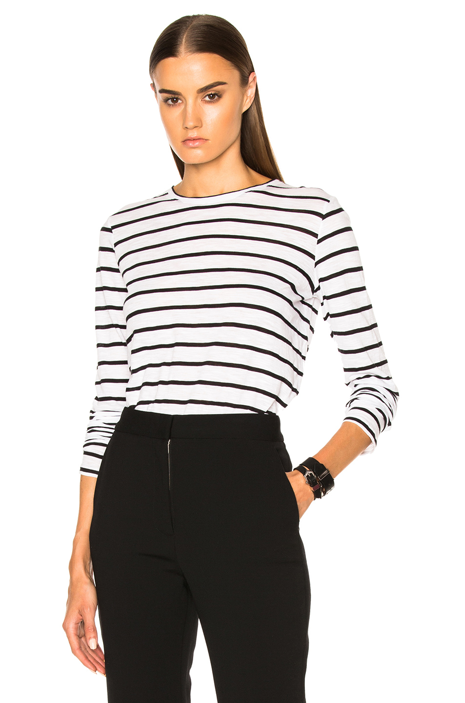 Proenza Schouler Tissue Jersey Long Sleeve Tee in White,Stripes