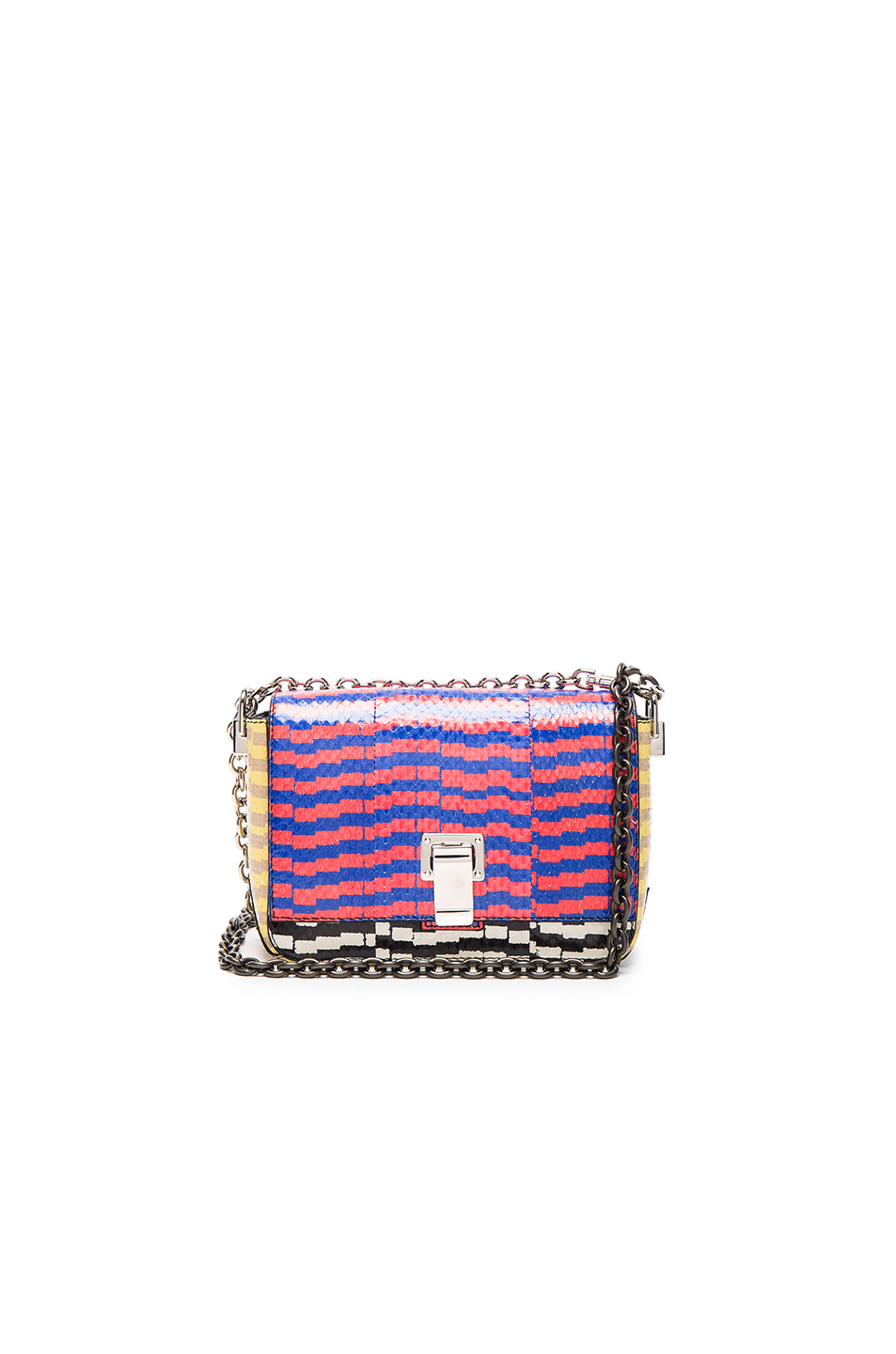 Proenza Schouler Extra Small Courier Mixed Printed Ayers in Checkered & Plaid,Red,Blue,Yellow,Abstract,Animal
