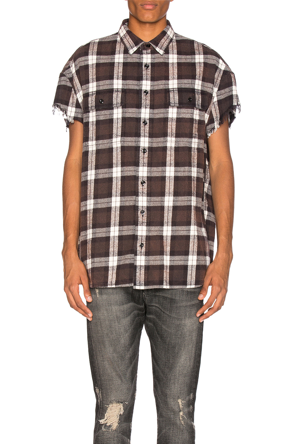 R13 Oversized Cut Off Shirt in Black,Checkered & Plaid