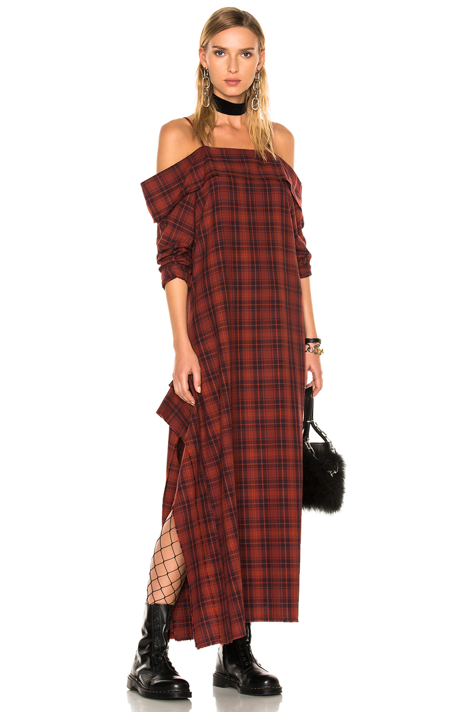R13 for FWRD Exclusive Mini Apron Dress in Checkered & Plaid,Red