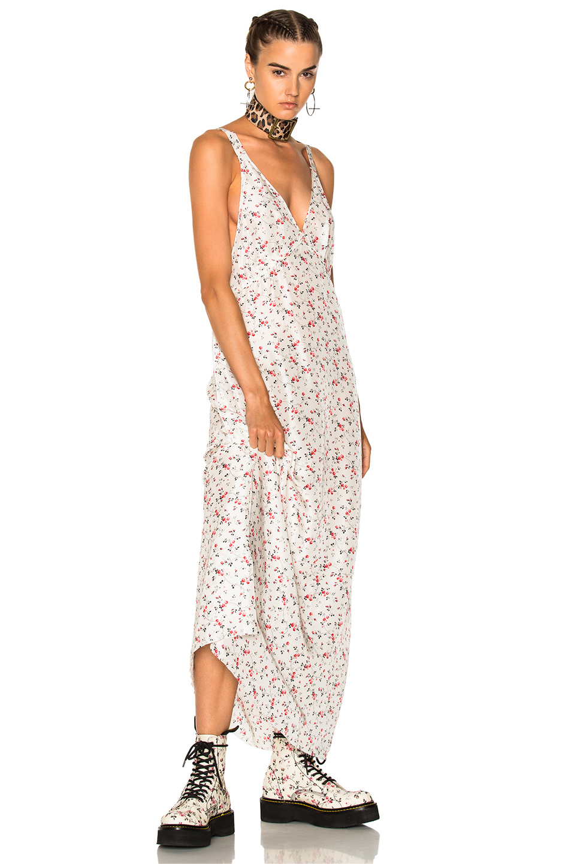 R13 Long Slip Dress in Florals,White