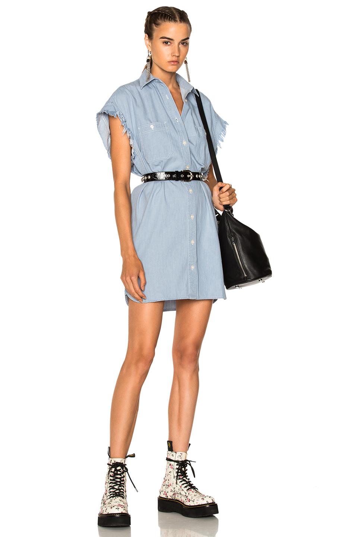 R13 Oversized Sleeveless Shirt Dress in Blue