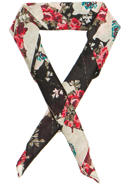 Rag & Bone Kimono Floral Bandana Neck Tie in Black,Floral