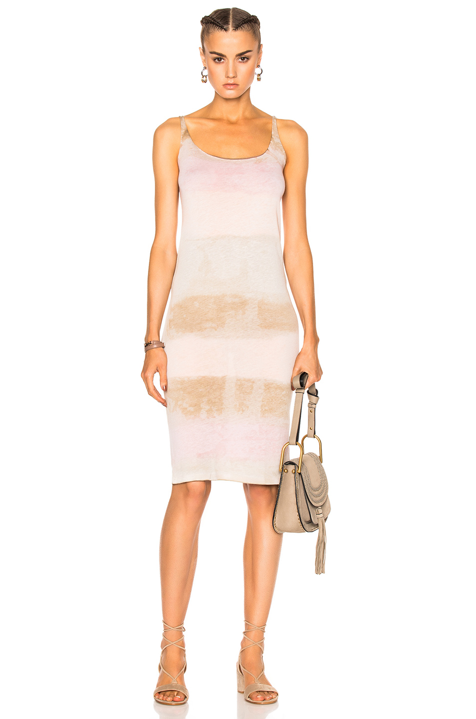 Raquel Allegra Layering Tank Dress in Brown,Ombre & Tie Dye,Pink