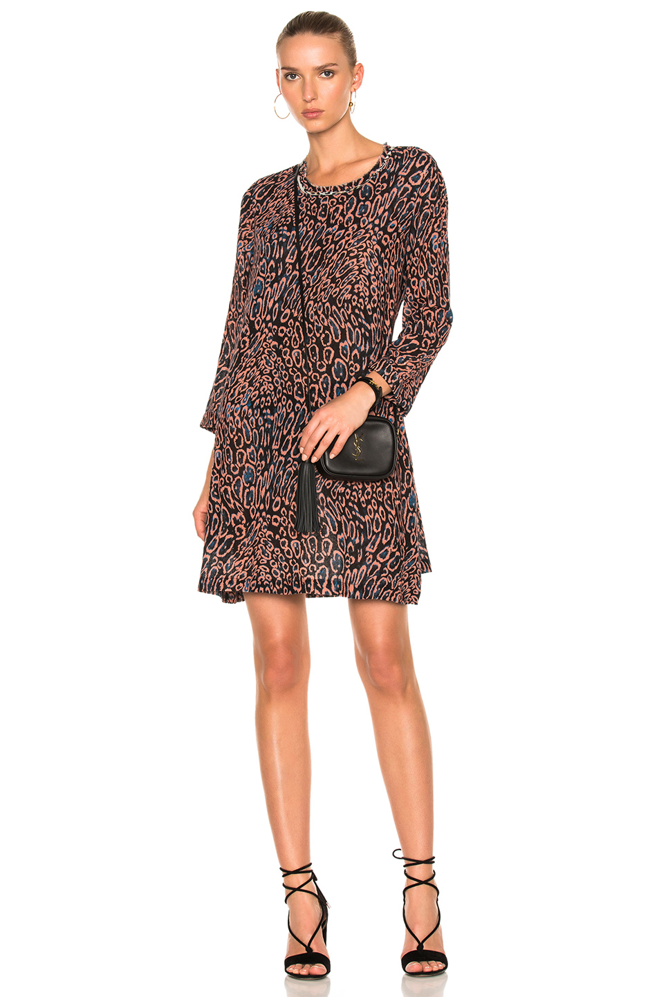 Raquel Allegra Long Sleeve Bell Dress in Animal Print,Black,Orange