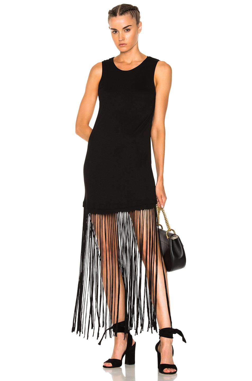 Raquel Allegra Muscle Tee Fringe Dress in Black