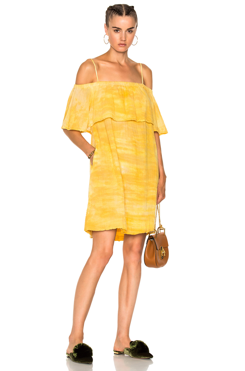 Raquel Allegra for FWRD Cotton Gauze Mini Dress in Yellow,Ombre & Tie Dye