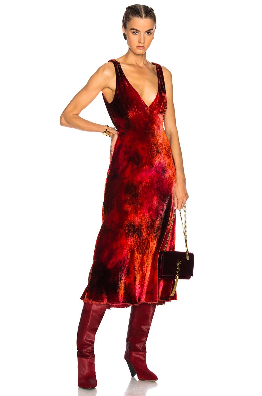Raquel Allegra Tulip Dress in Ombre & Tie Dye,Red