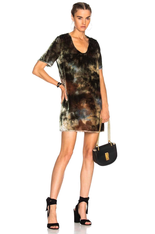 Raquel Allegra Short Sleeve Mini Dress in Green,Ombre & Tie Dye
