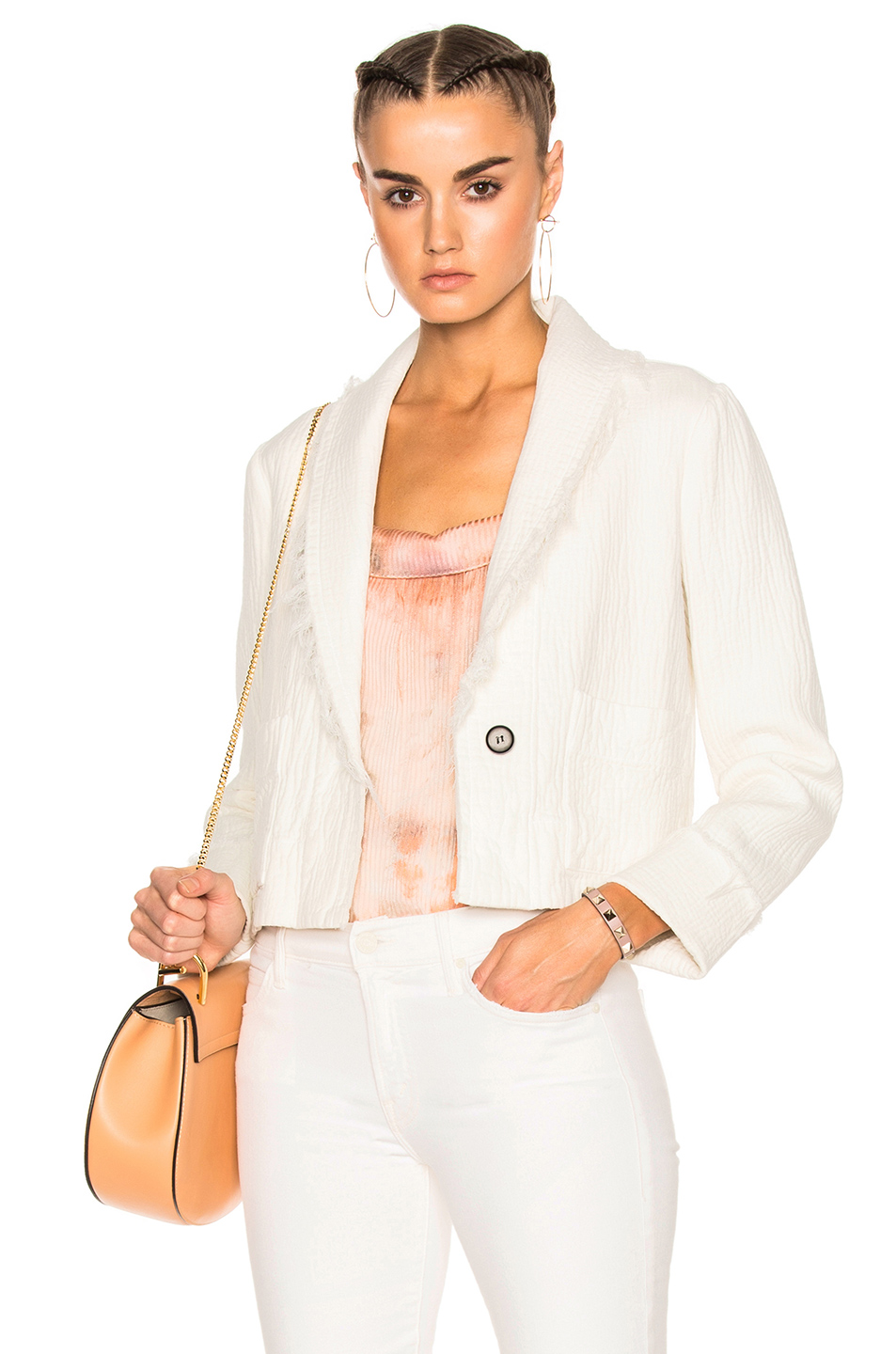 Raquel Allegra Cropped Blazer in White