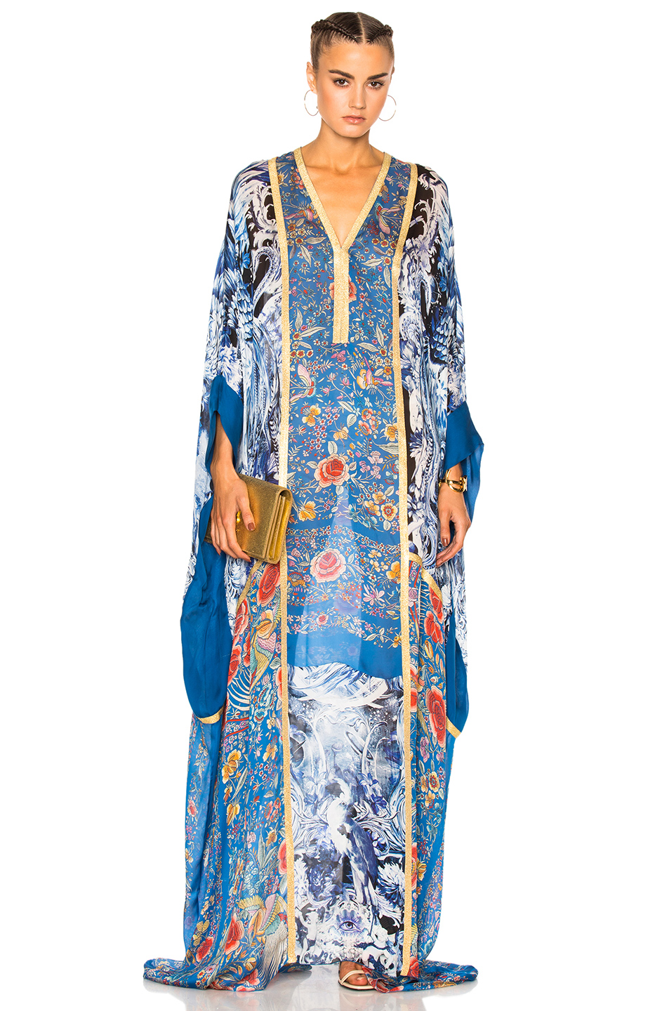 Photo of Roberto Cavalli Printed Woven Dress in Blue,Floral online sales