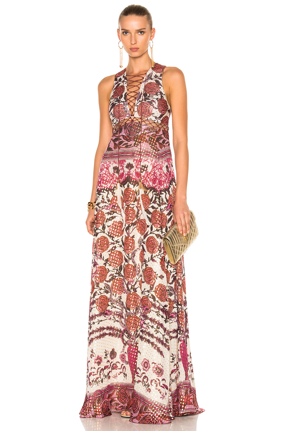 Roberto Cavalli Lace Up Detail Maxi Dress in Floral,Metallics,Red,White