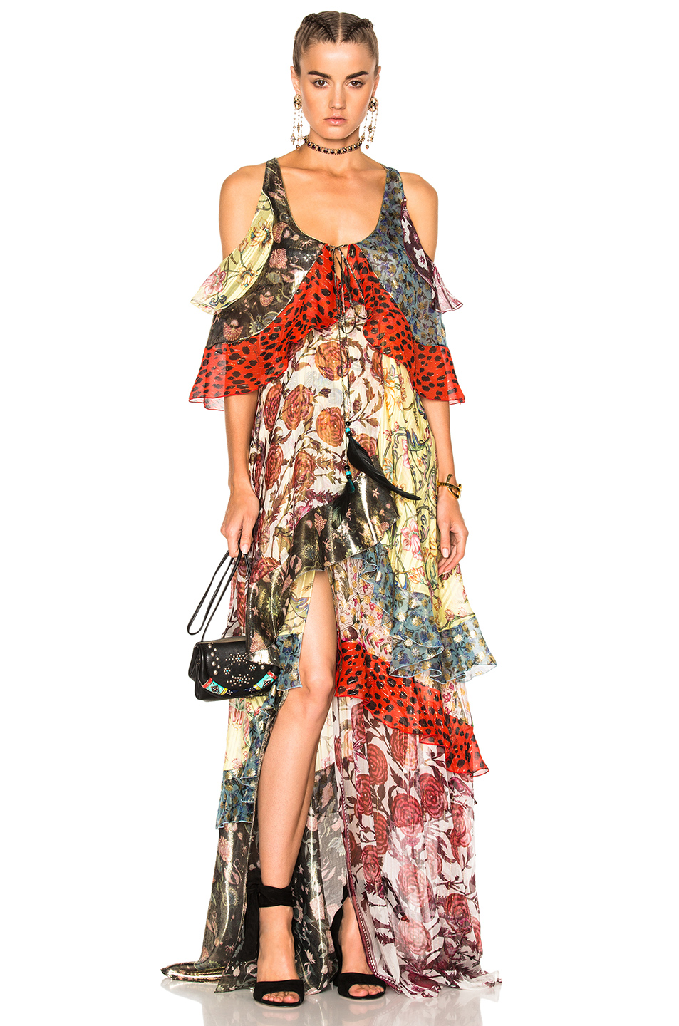 Roberto Cavalli Tiered Ruffle Dress in Animal Print,Black,Floral,Green,Metallics,Pink,Red