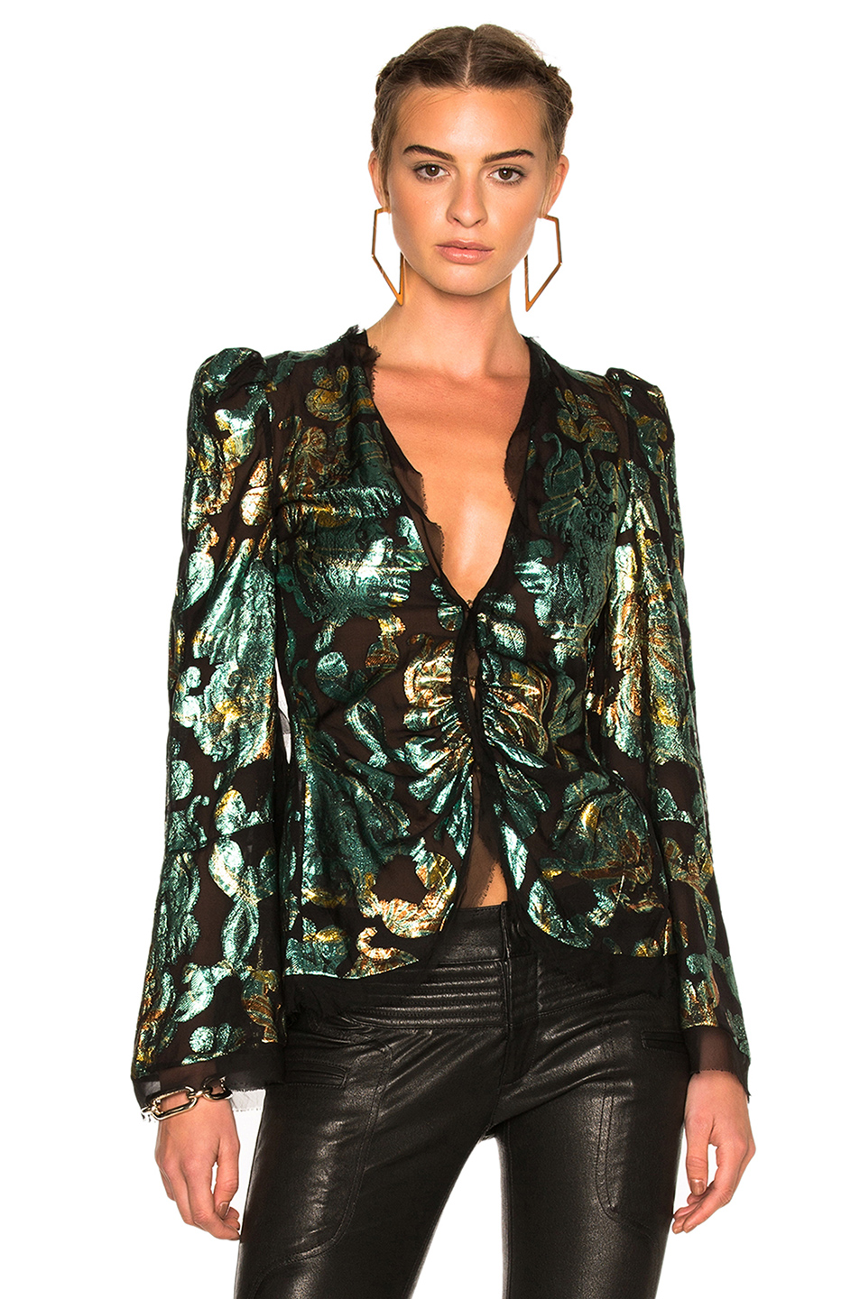 Roberto Cavalli Woven Blazer in Green,Abstract,Metallics