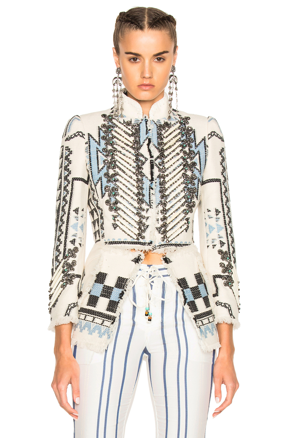Roberto Cavalli Woven Jacket in White,Blue,Abstract