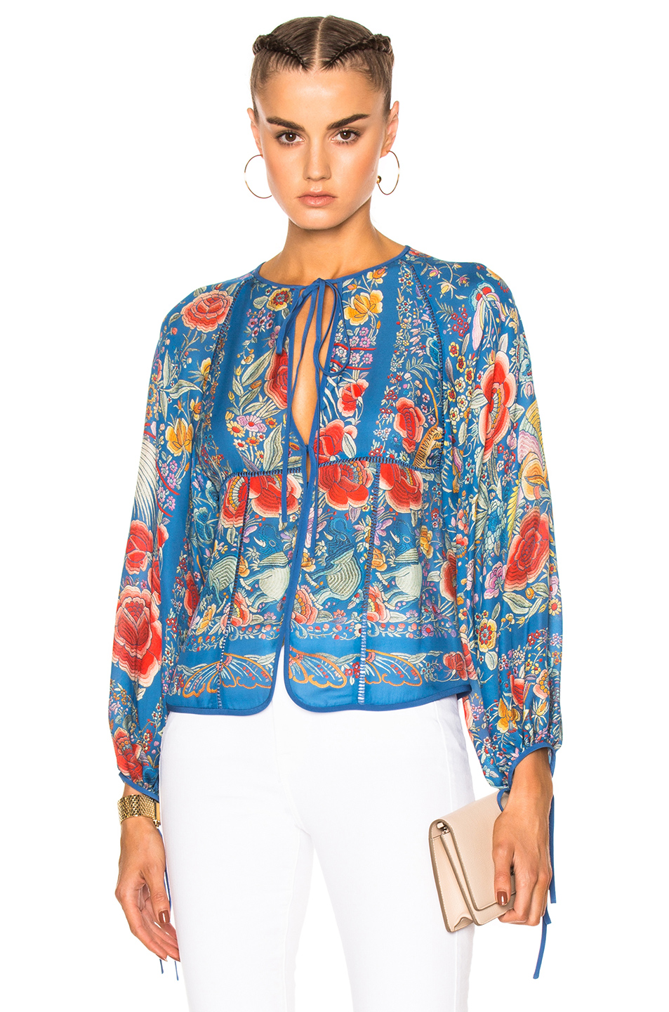 Roberto Cavalli Printed Woven Blouse in Blue,Floral