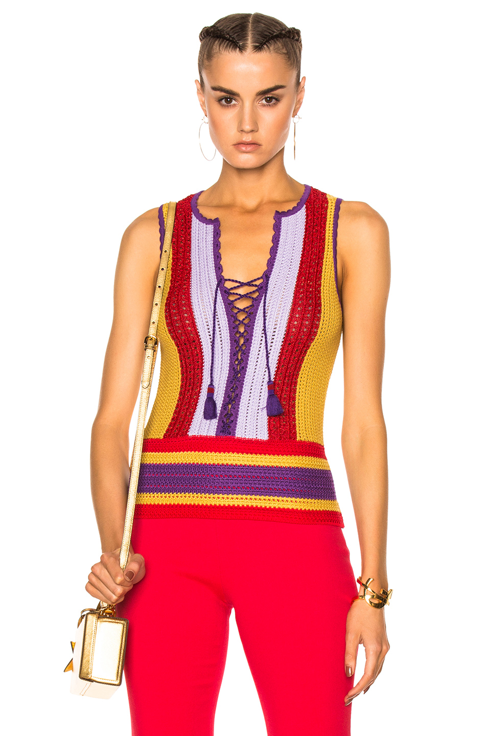 Roberto Cavalli Lace Up Top in Abstract,Red,Purple,Yellow