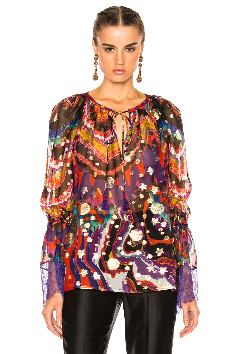 Roberto Cavalli Printed Woven Blouse in Abstract,Metallics,Purple,Red