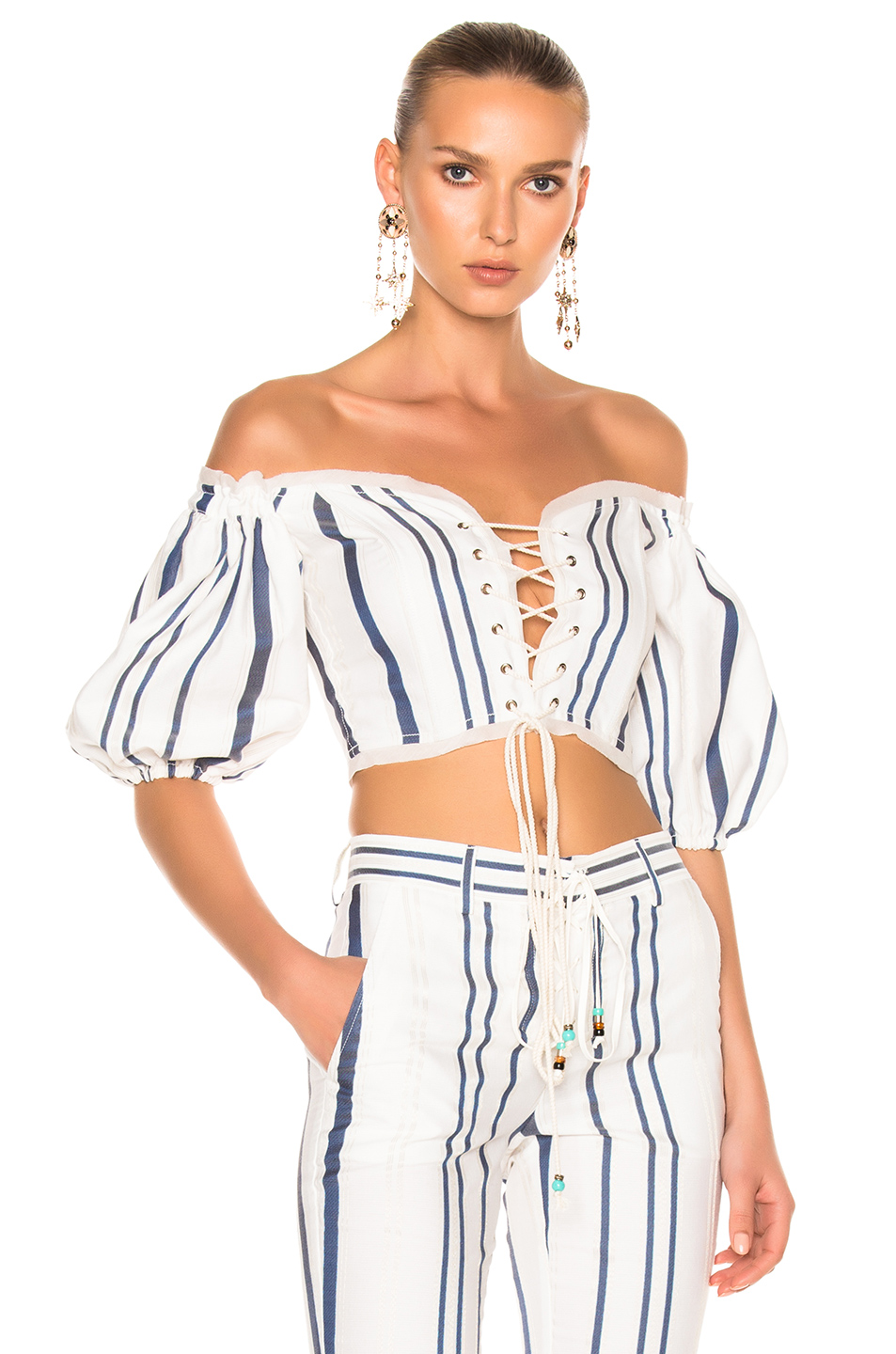 Roberto Cavalli Lace Up Cropped Top in Blue,Neutrals,Stripes