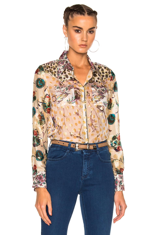 Roberto Cavalli Printed Shirt in Floral,Neutrals,Metallics