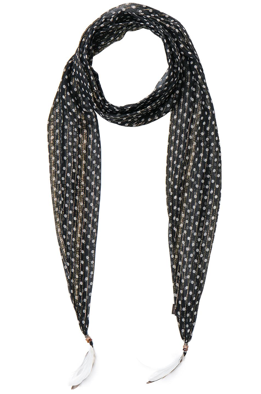 Roberto Cavalli Thin Printed Scarf in Metallics,Black,Geometric Print