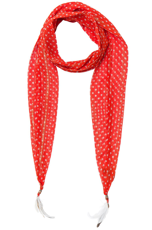 Roberto Cavalli Thin Printed Scarf in Metallics,Red,Geometric Print