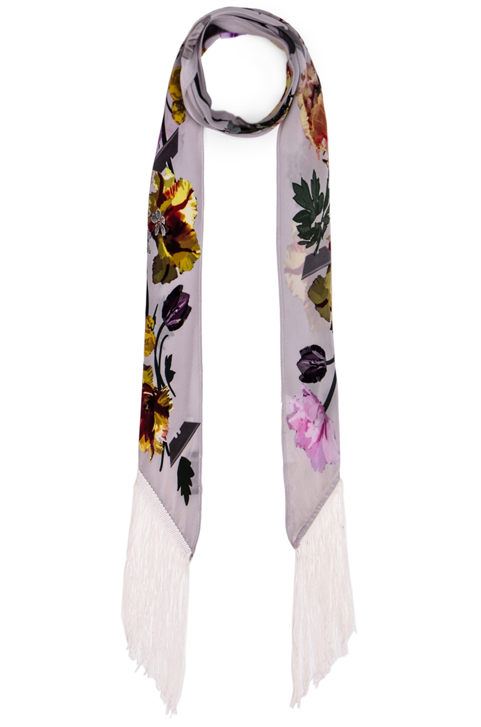 Rockins Flora Classic Skinny Fringe Scarf in White,Floral