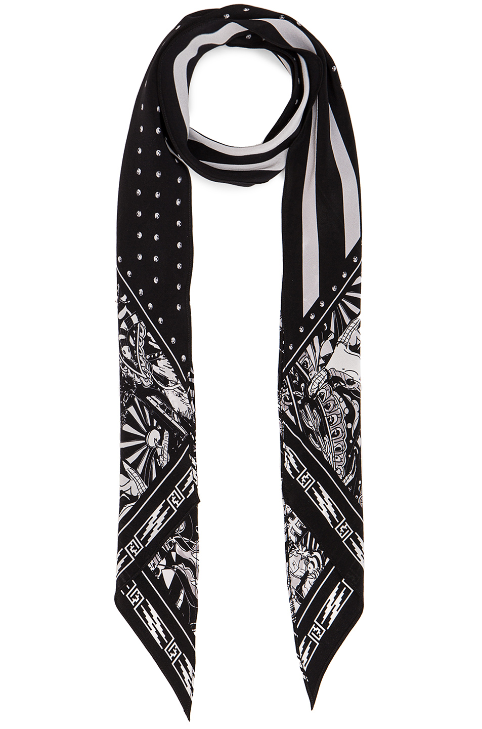 Rockins for FWRD Desert Paisley Classic Skinny Scarf in Black