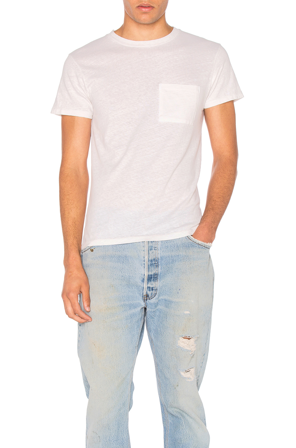 RE/DONE 1960s Slim Pocket Tee in White