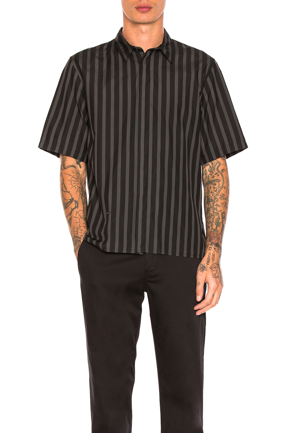 Robert Geller Over Dyed Stripe Shirt in Black,Stripes