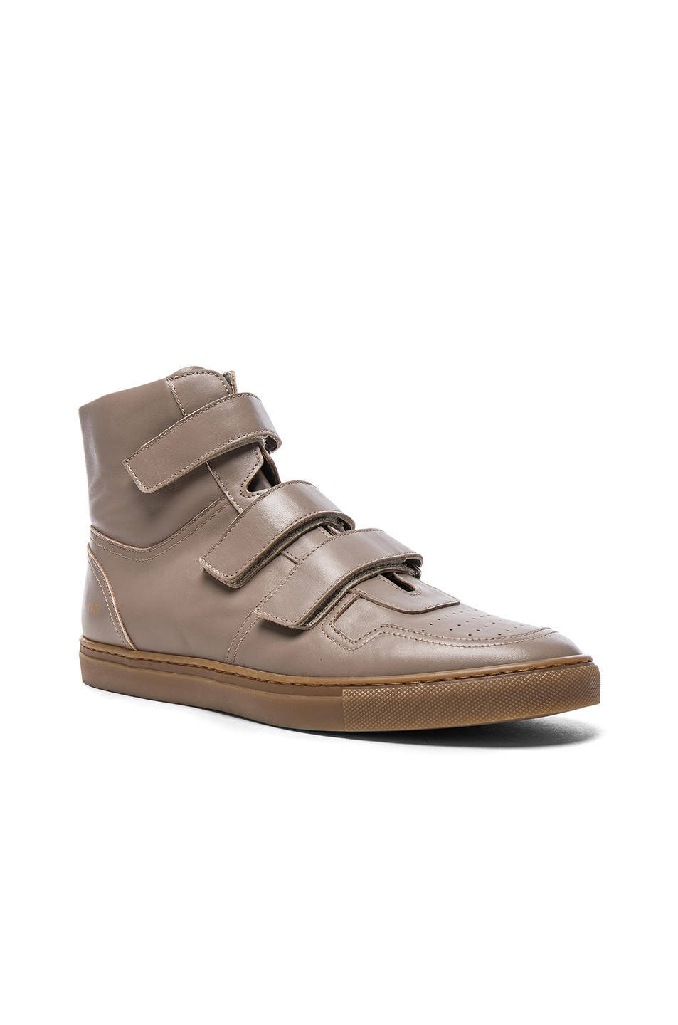 Robert Geller x Common Projects Velcro Leather High Tops in Neutrals