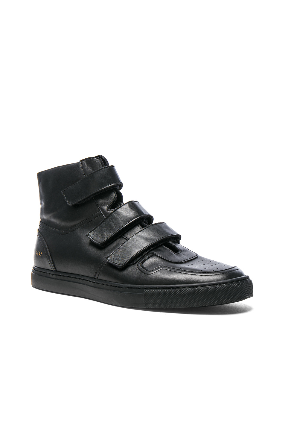 Photo of Robert Geller x Common Projects Velcro Leather High Tops in Black - shop Robert Geller menswear