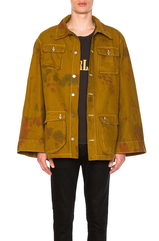 Rhude Camo Cargo Jacket in Ombre & Tie Dye,Green