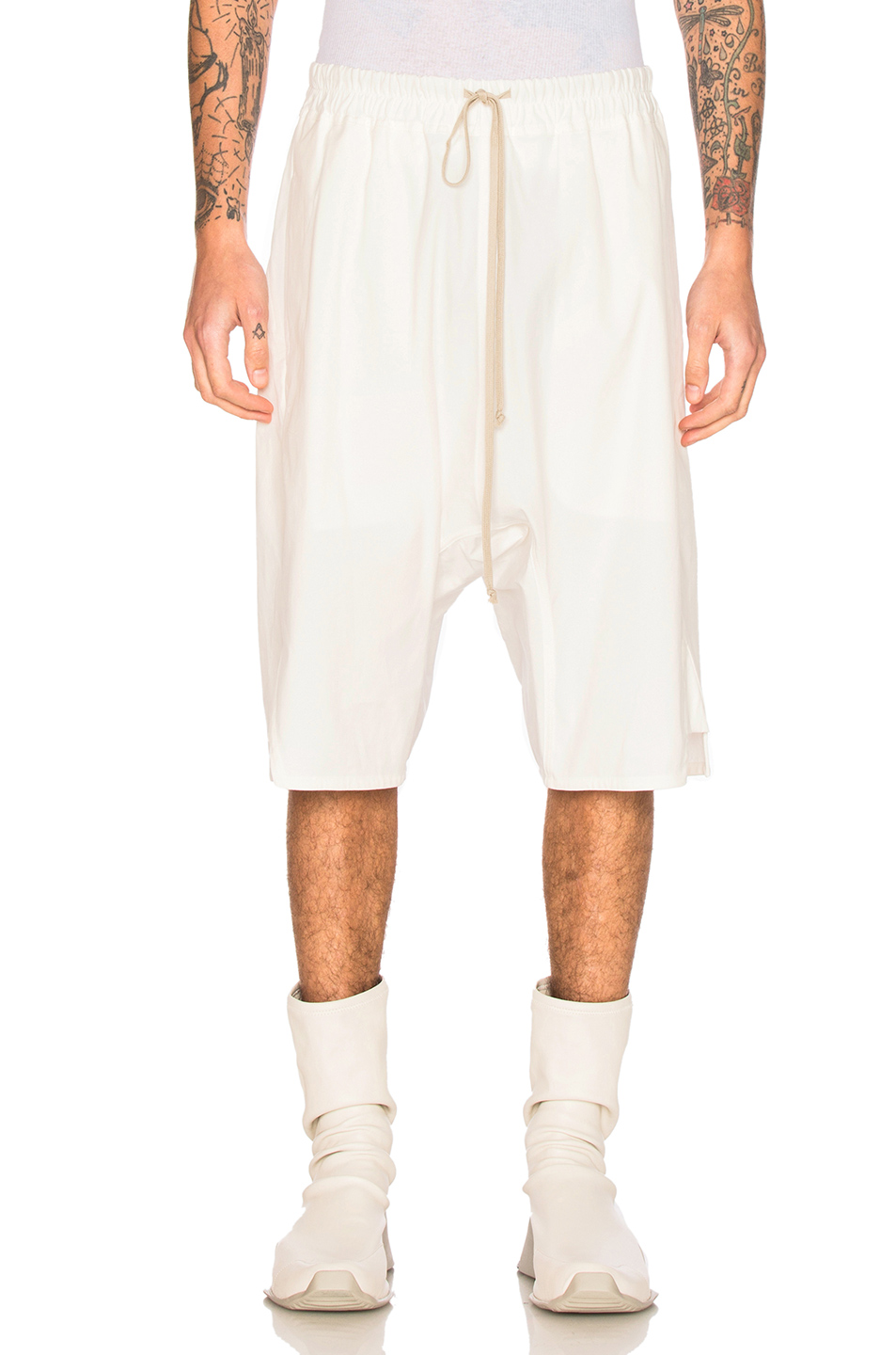 Rick Owens Basket Swinger Shorts in White