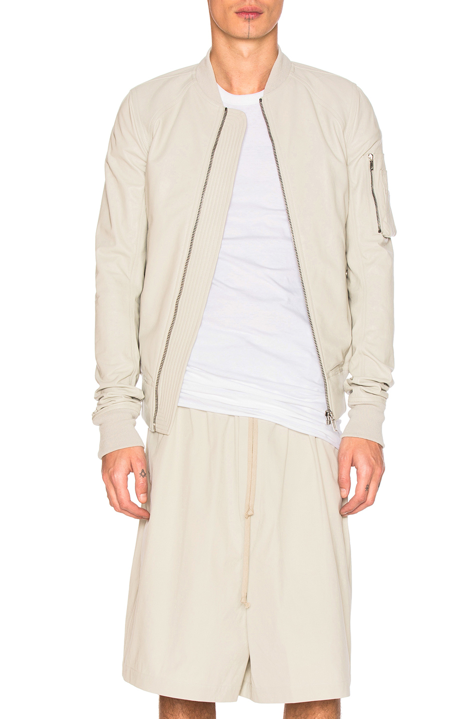 Rick Owens Raglan Leather Bomber Jacket in Neutrals,White
